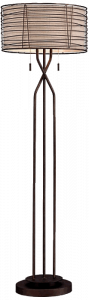 Franklin Iron Works Marlowe Woven Bronze Metal Floor Lamp