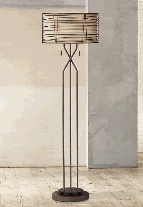 Franklin Iron Works Marlowe Woven Bronze Metal Lamp