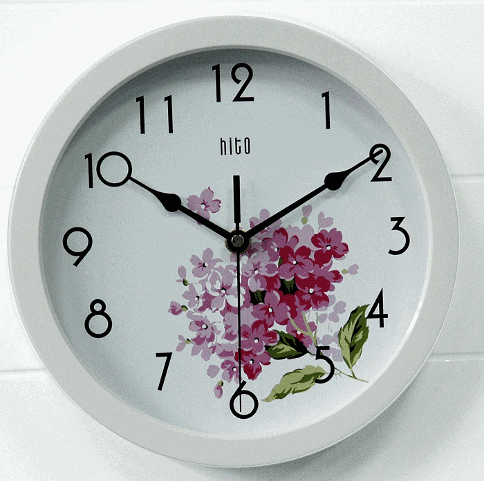HITO Modern Colorful Floral Silent Wall Clock
