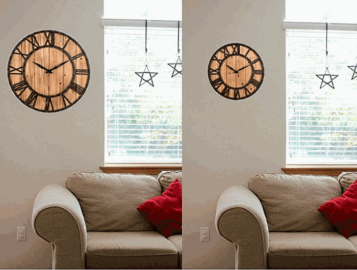OLDTOWN Metal & Solid Wood Big Oversized Wall Clock