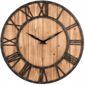 OLDTOWN Metal & Solid Wood Noiseless Big Oversized Wall Clock