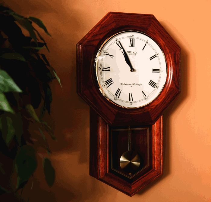 Seiko Wall Pendulum Clock Dark Brown Solid Oak